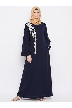 MOMIN LIBAS Women Navy Blue Polyester Embroidered Abaya Burqa