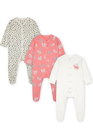 Mothercare Infant Girls Pack of 3 Multicoloured Printed Pure Cotton Sleepsuits