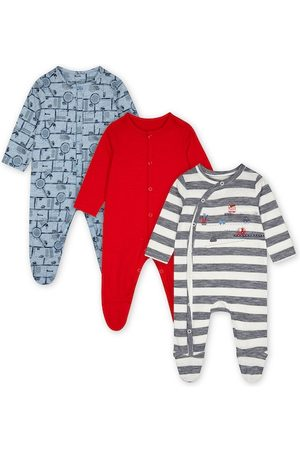 Mothercare Infant Boys Pack of 3 Pure Cotton Sleepsuits