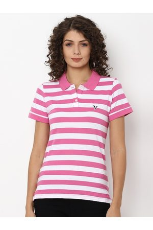 AMERICAN EAGLE OUTFITTERS Women Pink Striped Polo Collar T-shirt