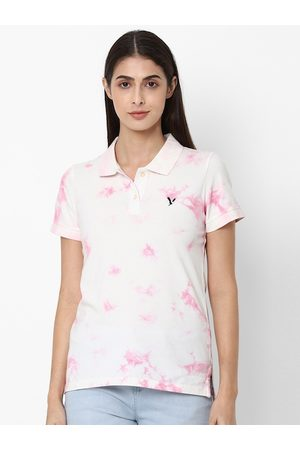 AMERICAN EAGLE OUTFITTERS Women Pink & White Tie Dye Printed Polo Collar T-shirt