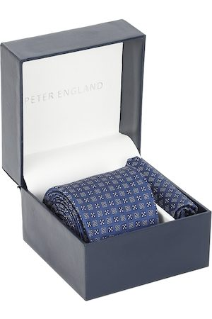 Peter England Men Blue Tie & Pocket Square