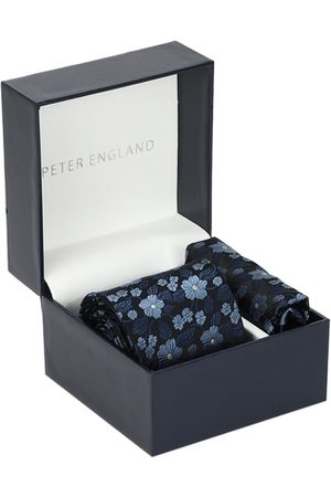Peter England Men Navy Blue Printed Tie and Pocket Square