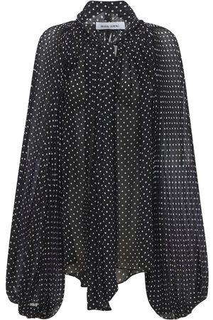 PRABAL GURUNG Polka Dots Georgette Shirt W/ Bow