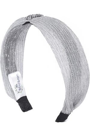 Blueberry Women Grey Shimmer Net Hairband with Beaded Detail