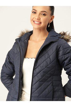 DressBerry Women Navy Blue Parka Jacket