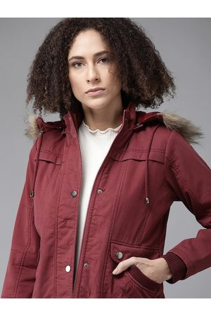 Roadster Women Maroon Pure Cotton Solid Parka Jacket with Detachable Hood