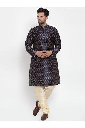KRAFT INDIA Men Navy Blue Ethnic Motifs Printed Angrakha Kurta with Pyjamas