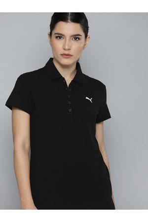 PUMA Women Black & White Brand Logo Polo Collar T-shirt