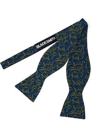 Blacksmith Men Blue & Olive Green Woven Design Bow Tie