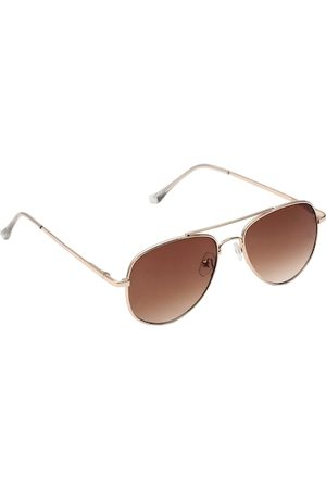 Spiky Unisex Kids Brown Lens & Gold-Toned Aviator Sunglasses with UV Protected Lens