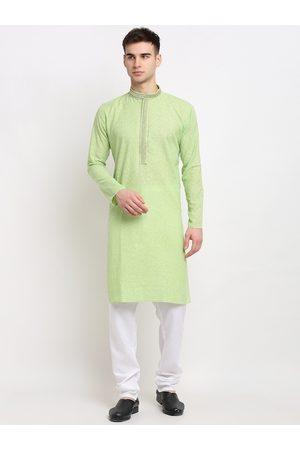 Jompers Men Green Ethnic Motifs Embroidered Pure Cotton Kurta with Pyjamas