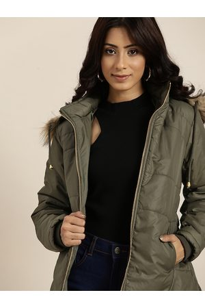 all about you Women Olive Green Solid Parka Jacket With Detachable Hood