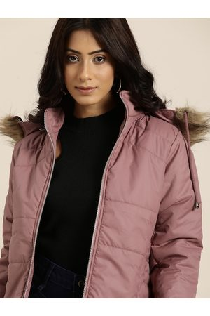 all about you Women Pink Solid Parka Jacket With Detachable Hood