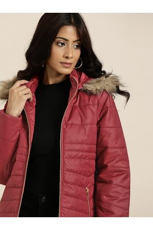 all about you Women Maroon Solid Parka Jacket