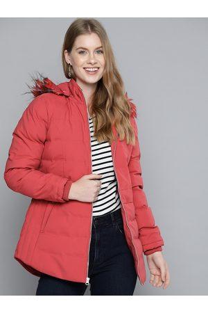 Fort Collins Women Pink Nylon Hooded Parka Jacket