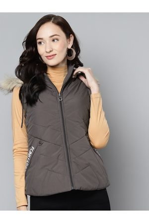 Foreign Culture By Fort Collins Women Grey Solid Parka Jacket