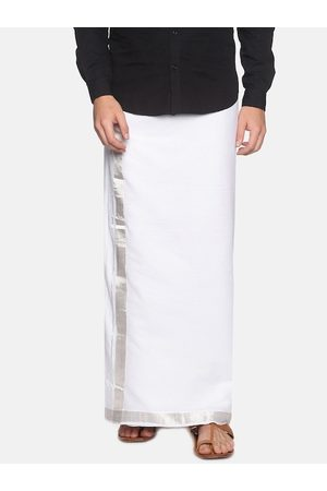 Sethukrishna Men White & Silver-Coloured Cotton Traditional Kerala Double Mundu Dhotis