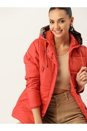 DressBerry Women Coral Red Solid Hooded Parka Jacket