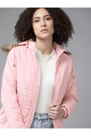 Roadster Women Pink Solid Parka Jacket with Detachable Hood