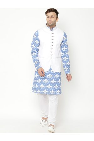 Hangup Men Blue Ethnic Motifs Kurta with Pyjamas & Nehru Jacket