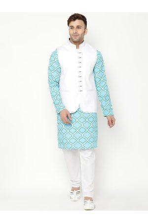 Hangup Men Blue Ethnic Motifs Printed Kurta with Pyjamas & Nehru Jacket