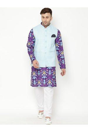 Hangup Men Purple Ethnic Motifs Printed Kurta with Pyjamas & Nehru Jacket