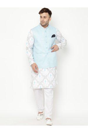 Hangup Men Cream-Coloured Ethnic Motifs Printed Kurta with Pyjamas & Nehru Jacket