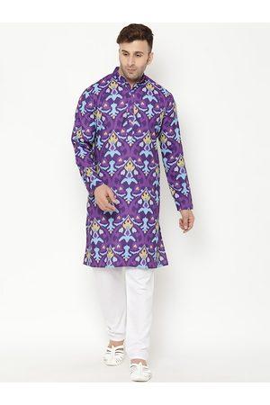 Hangup Men Purple Ethnic Motifs Printed Kurta with Pyjamas