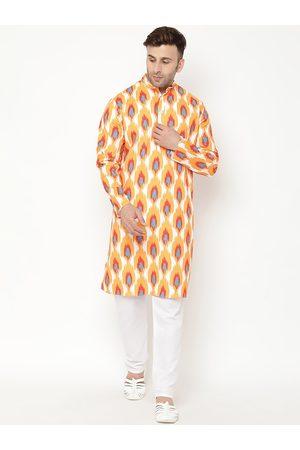Hangup Men Orange Ethnic Motifs Printed Kurta with Pyjamas