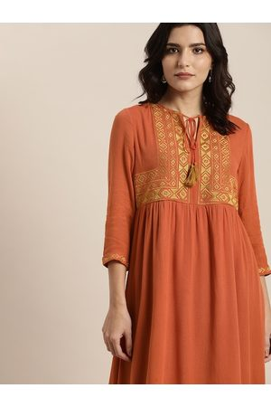 all about you Rust Orange Yoke Embroidered Tie-Up Neck A-Line Dress