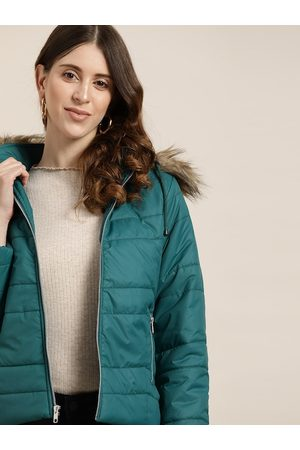 all about you Women Teal Green Hooded Parka Jacket