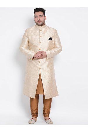 Hangup Men Plus Size Beige & White Printed Sherwani
