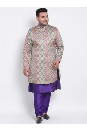 Hangup Men Plus Size Beige & Violet Printed Regular Fit Sherwani
