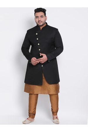 Hangup Men Plus Size Black & Brown Solid Sherwani Set