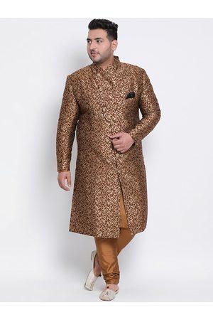 Hangup Men Plus Size Brown Woven-Design Sherwani