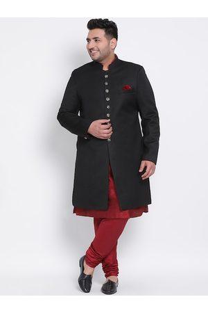 Hangup Men Plus Size Black & Maroon Solid Sherwani