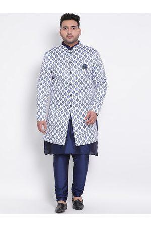 Hangup Men Plus Size Blue & White Printed Sherwani