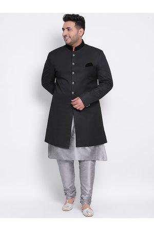 Hangup Men Plus Size Black & Grey Solid Sherwani