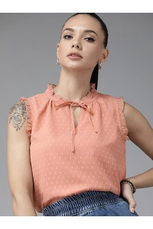 Roadster Peach-Coloured Dobby Weave Tie-Up Neck Top