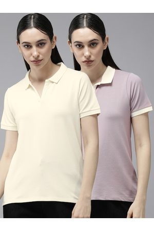 Roadster Women Pack of 2 Beige & Mauve Polo Collar T-shirts