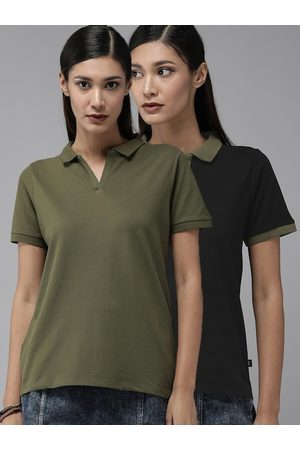 Roadster Women Pack Of 2 Polo Collar T-shirts