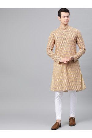 See Designs Men Cream-Coloured & Red Ethnic Motifs Printed Cotton Kurta with Pyjamas
