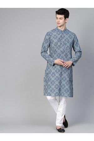 See Designs Men Blue Ethnic Motifs Printed Pure Cotton Kurta with Pyjamas