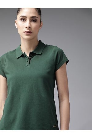 Roadster Women Green Solid Pure Cotton Polo Collar T-shirt