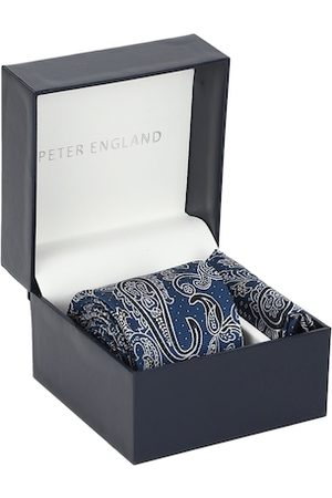 Peter England Navy Tie and Pocket Square Gift Set