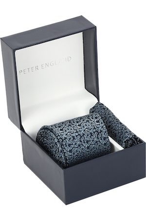 Peter England Navy Blue Printed Tie and Pocket Square