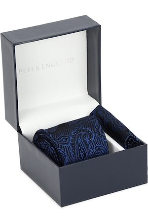 Peter England Navy Blue Tie and Pocket Square Gift Set