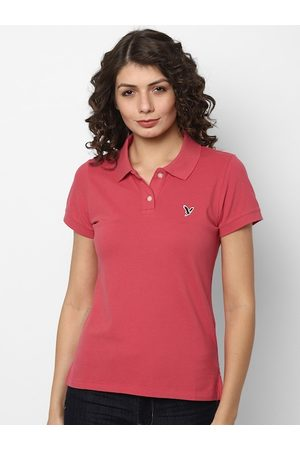 AMERICAN EAGLE OUTFITTERS Women Pink Polo Collar T-shirt