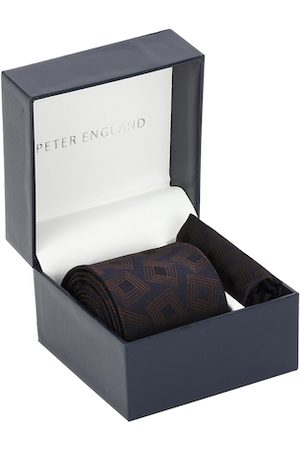 Peter England Brown & Navy Blue Printed Tie and Pocket Square
